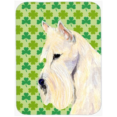 Shamrock Lucky Irish Scottish Terrier St. Patrick's Day Portrait Glass Cutting Board