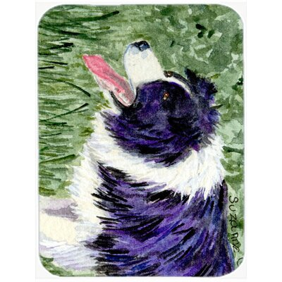 Purple and White Border Collie Glass Cutting Board