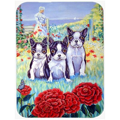 Boston Terrier Three in a Row Glass Cutting Board