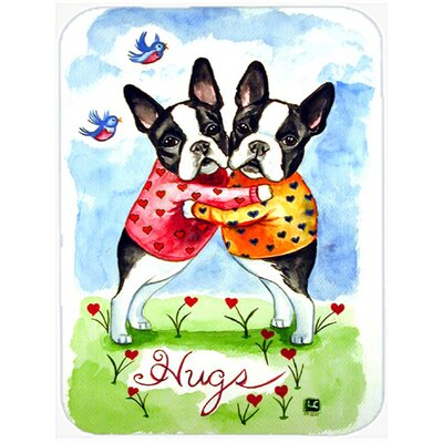 Boston Terrier Hugs Glass Cutting Board