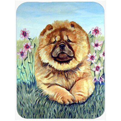 Chow Chow and Flowers Glass Cutting Board