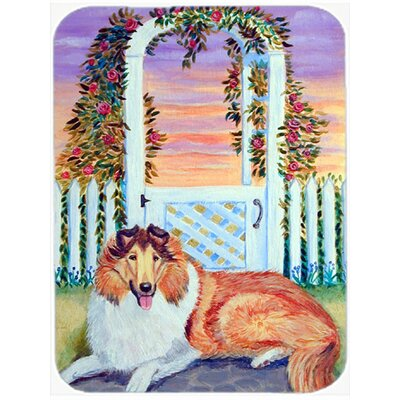 White and Brown Collie Glass Cutting Board