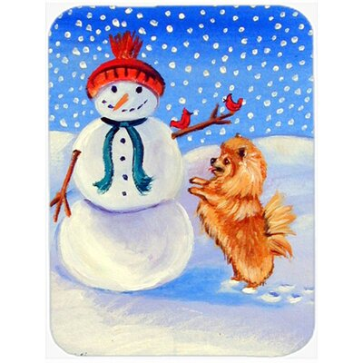 Snowman with Pomeranian Glass Cutting Board