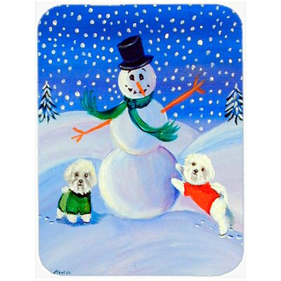 Snowman with a Bichon Frise Glass Cutting Board
