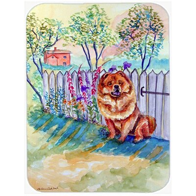 Chow Chow Beside Fence Glass Cutting Board