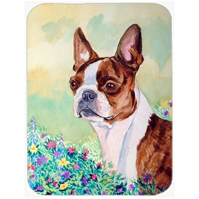 Boston Terrier and Flower Glass Cutting Board