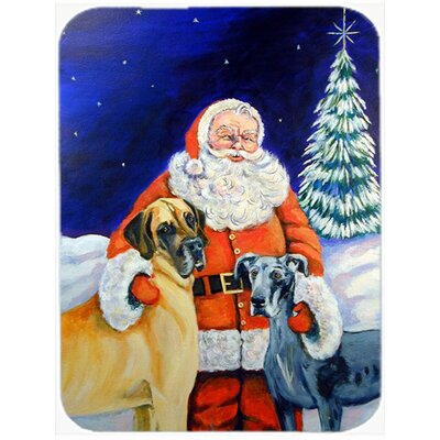Santa Claus with Great Dane Glass Cutting Board