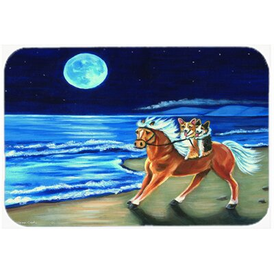 Corgi Beach Ride on Horse Glass Cutting Board