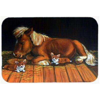 Corgi Snuggles the Pony Glass Cutting Board