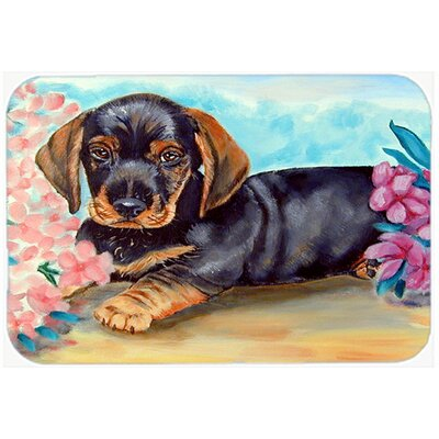 Dachshund and Flowers Rectangle Glass Cutting Board