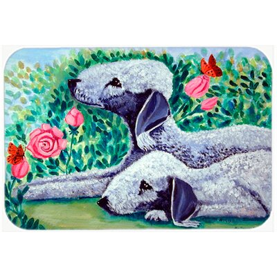 Bedlington Terrier and Flowers Glass Cutting Board