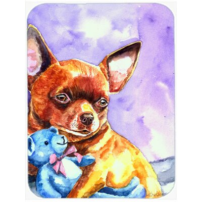 Chihuahua with Teddy Bear Glass Cutting Board