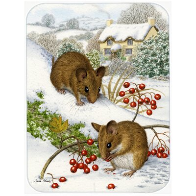 Wood Mice and Berries Glass Cutting Board