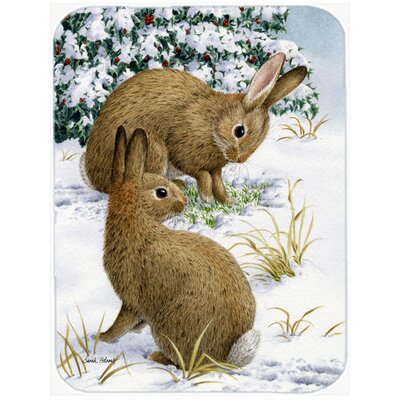 Rabbit Searching for Grass in the Snow Glass Cutting Board