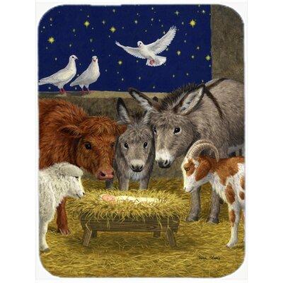 Nativity Scene with Just Animals Glass Cutting Board