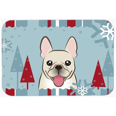 Winter Holiday French Bulldog Glass Cutting Board