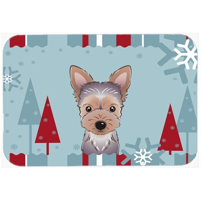Winter Holiday Yorkie Puppy Glass Cutting Board