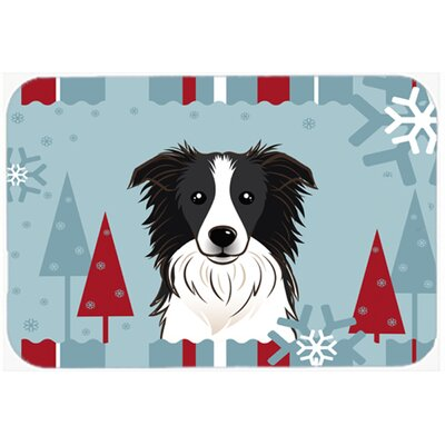 Winter Holiday Border Collie Glass Cutting Board