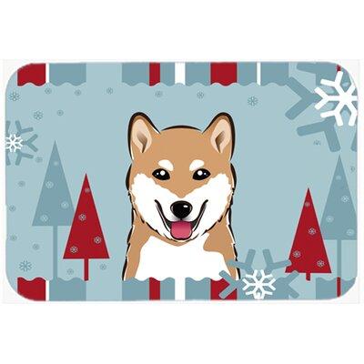 Winter Holiday Shiba Inu Glass Cutting Board
