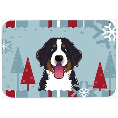 Winter Holiday Bernese Mountain Dog Glass Cutting Board