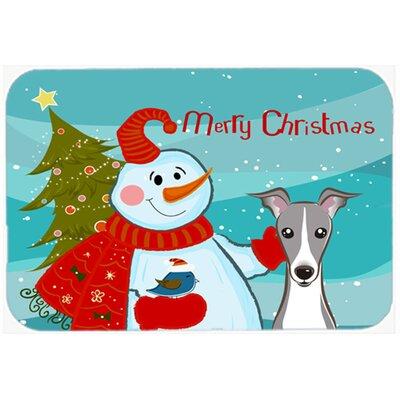 Snowman Buddies with Italian Greyhound Glass Cutting Board