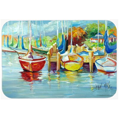 On the Dock Sailboat Glass Cutting Board