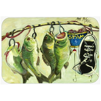 Recession Food Fish Caught with Spam Glass Cutting Board