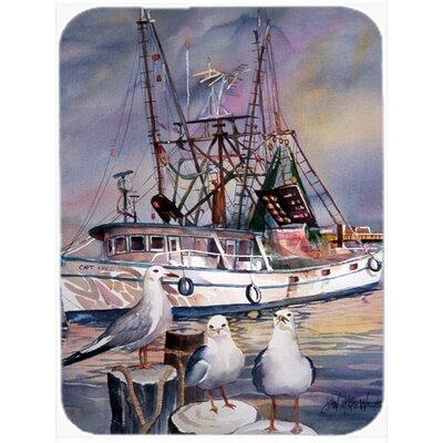 Sea Gulls and Shrimp Boats Glass Cutting Board
