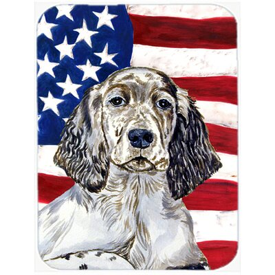 Patriotic USA American Flag with English Setter Glass Cutting Board