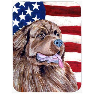 Patriotic USA American Flag with Newfoundland Glass Cutting Board