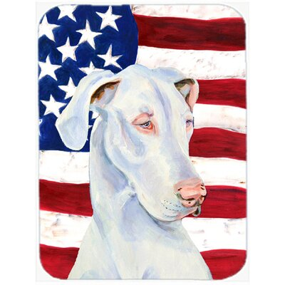 Patriotic USA American Flag with Great Dane Glass Cutting Board