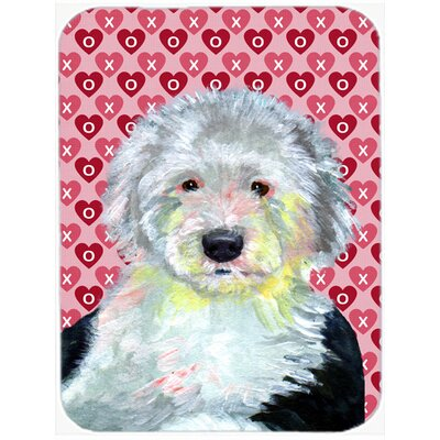 Valentine Hearts Old English Sheepdog Hearts Love and Valentine's Day Glass Cutting Board