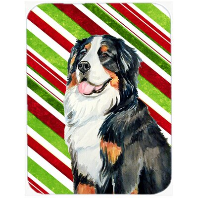 Dog Candy Cane Holiday Christmas Glass Cutting Board