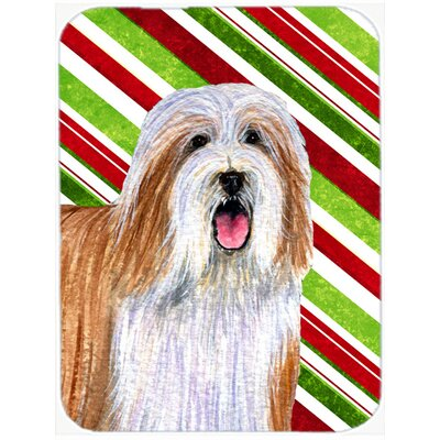 Bearded Collie Candy Cane Holiday Christmas Tempered Glass Cutting Board