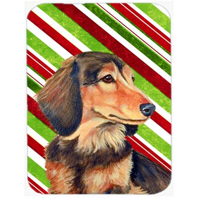 Dachshund Candy Cane Holiday Christmas Tempered Glass Cutting Board