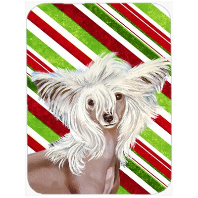 Chinese Crested Candy Cane Holiday Christmas Glass Cutting Board