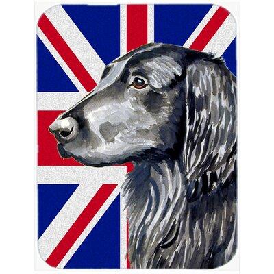 Union Jack Flat Coated Retriever with English British Flag Glass Cutting Board