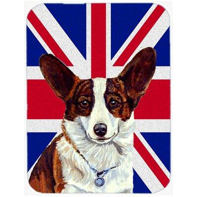 Union Jack Corgi with English British Flag Glass Cutting Board