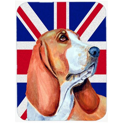 Union Jack Basset Hound with English British Flag Glass Cutting Board