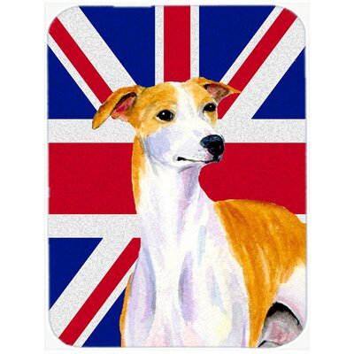 Union Jack Whippet with English British Flag Glass Cutting Board