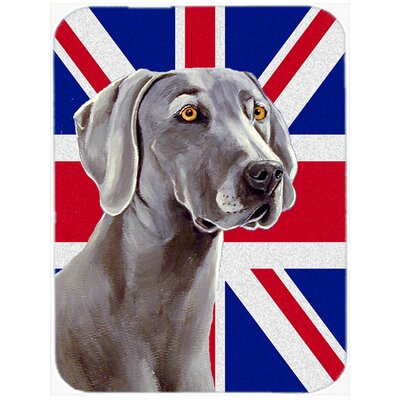 Union Jack Weimaraner with English British Flag Glass Cutting Board