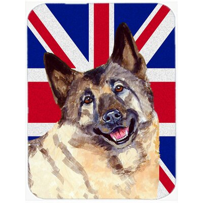 Union Jack Norwegian Elkhound with English British Flag Glass Cutting Board