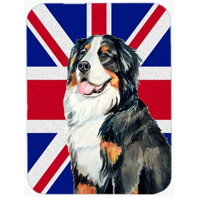 Union Jack Bernese Mountain Dog with English British Flag Glass Cutting Board