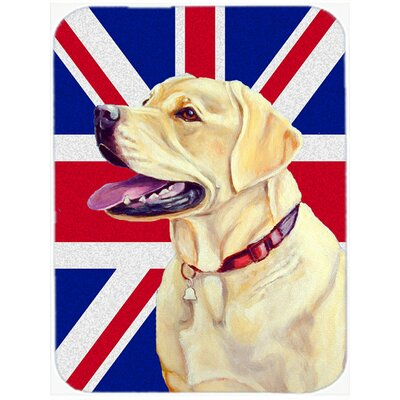 Union Jack Labrador with English British Flag Glass Cutting Board