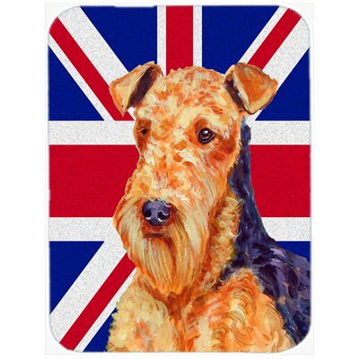 Union Jack Airedale with English British Flag Glass Cutting Board
