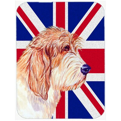 Union Jack Petit Basset Griffon Vendeen with English British Flag Glass Cutting Board