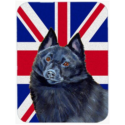 Union Jack Schipperke with English British Flag Glass Cutting Board