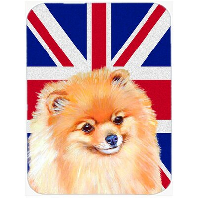 Union Jack Pomeranian with English British Flag Glass Cutting Board