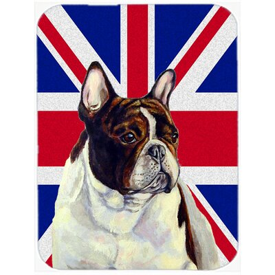 Union Jack French Bulldog with English British Flag Glass Cutting Board