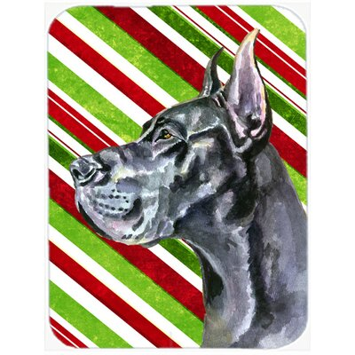 Great Dane Candy Cane Holiday Christmas Glass Cutting Board